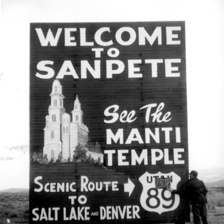 Welcome to Sanpete road sign in Sanpete County
