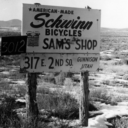 Sam's Bicycle Shop road sign in Sanpete County